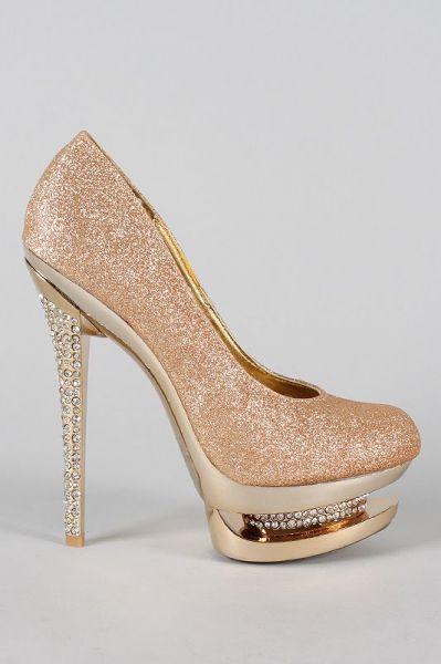 Sapato Importado Glitter Strass - Champagne